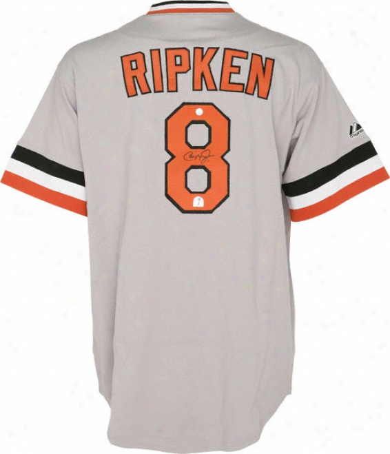 Cal Ripken Jr. Autographed Jersey  Details: Baltimore Orioles, Majestic, Grey, Cooperstown Collection