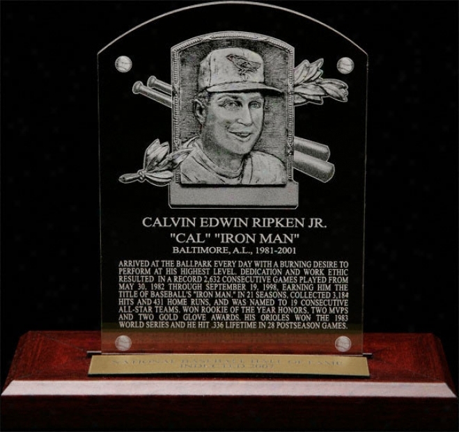 Cal Ripken Jr. Hof Plaque Etched Acrylic Desk Top Plsque