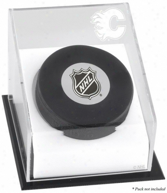Calgary Flames Hockey Puck Logo Display Case