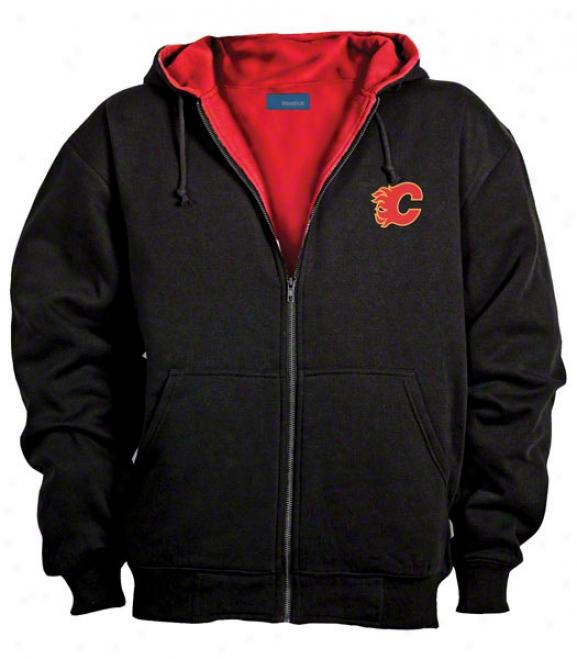 Calga5y Flames Jacket: Black Reebok Hooded Craftqman Jacket