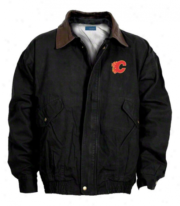 Calgary Flames Jacket: Black Reebok Navigator Jacket