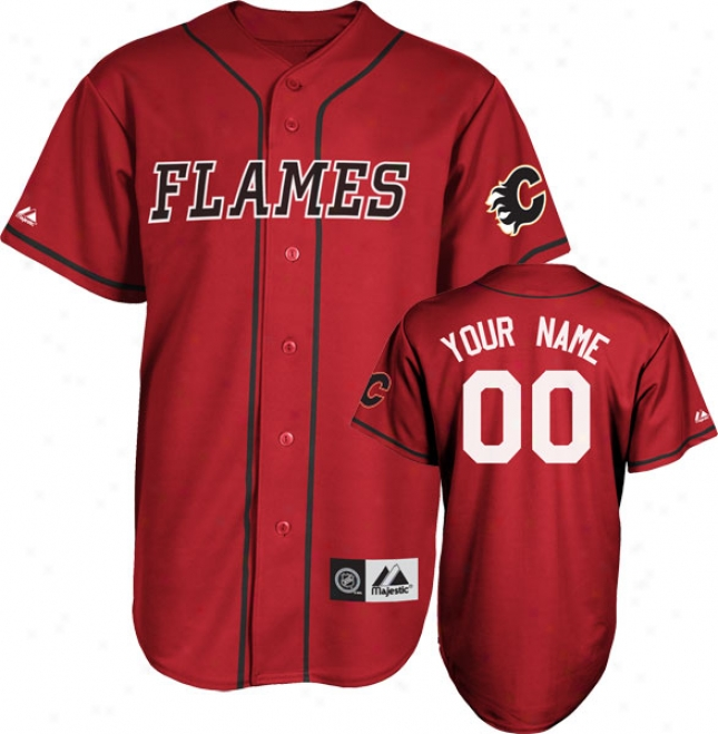 Calgary Flames Jersey: Scarlet Customizable Nhl Replica Baseball Jeraey