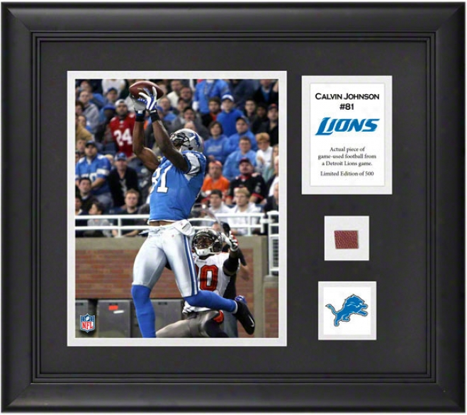 Calvin Johnson Framed 8x10 Photograph  Details: Detroit Lions, With Game Used Football Piece And Descriptive Plate