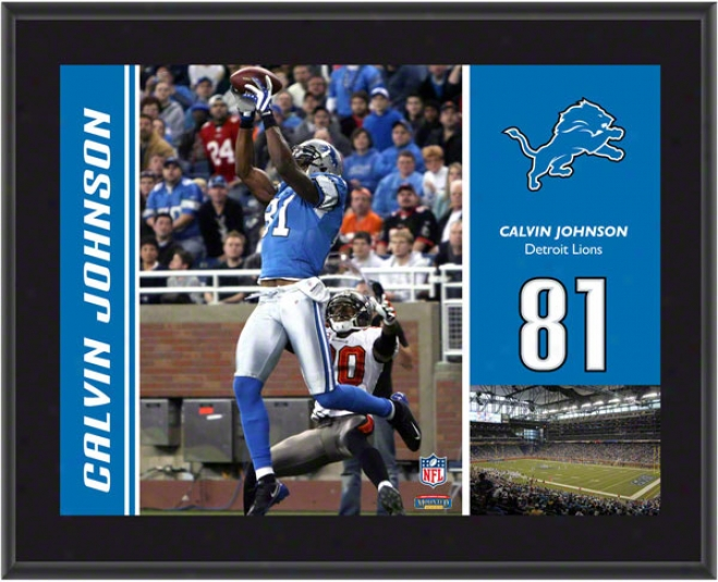 Calvin Johnson Plaque  Details: Detroit Lions, Sublimated, 10x13, Nfl Plaqeu