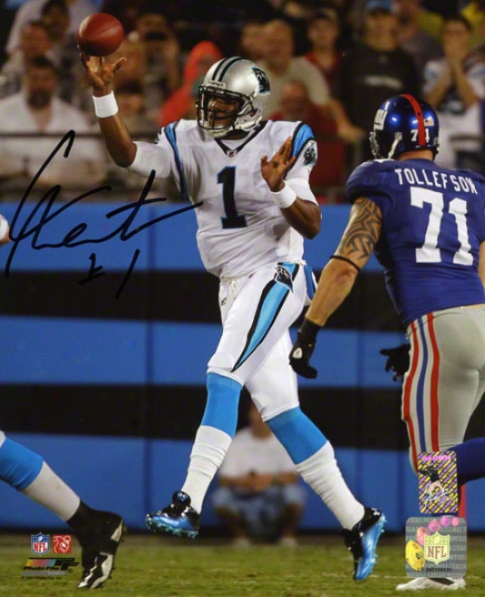 Cam Newton Autographed 8x10 Photograph  Details: Carolina Panthers Vs New York Giants