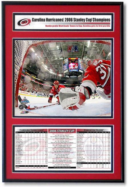 Cam Ward Carolina Hurricanes 2006 Stanley Draught Champions Frame (carolina Hurricanes 4 - Edmonton Oilers 3)