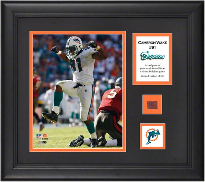 Cameron Wake Framed 8x10 Ph0tograph  Details: Miami Dolphins, With Game Used Football Piecs And Descriptive Plate