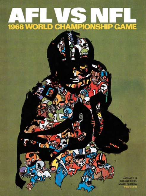 Canvas 22 X 30 Super Bowl Ii Program Print  Details: 1968, Pacoers Vs Raiders