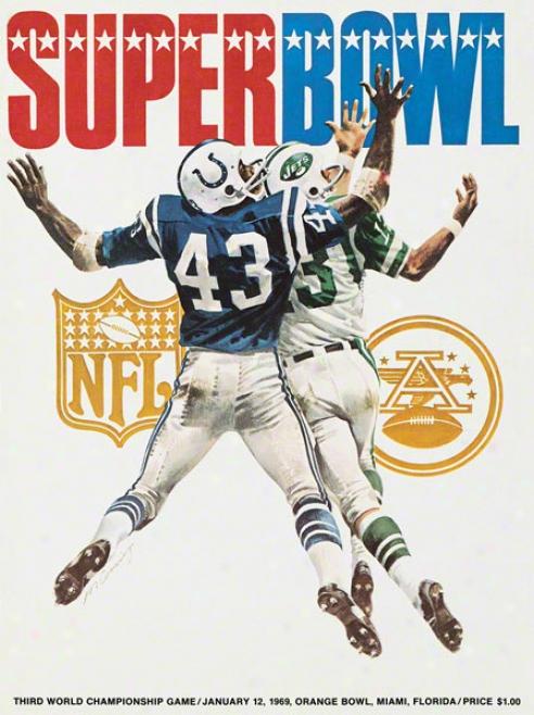 Canvas 22 X 30 Super Bowl Iii Program Print  Details: 1969, Jets Vs Colts