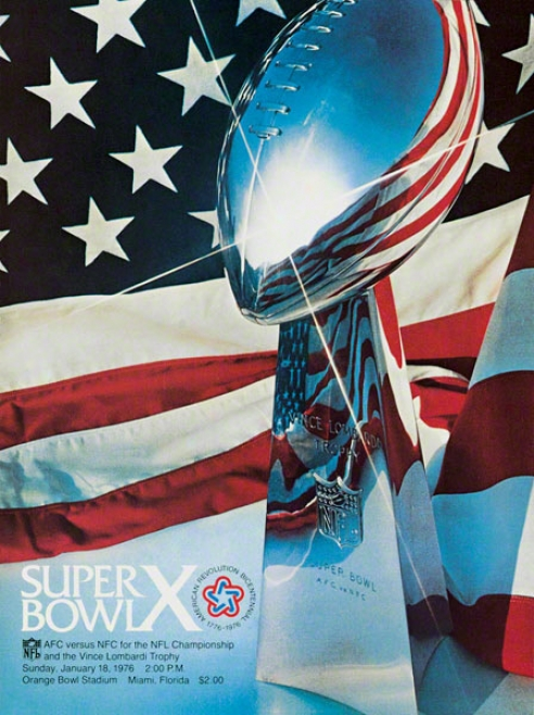 Canvas 22 X 30 Super Bowl X Program Print  Details: 1976, Steelers V sCowboyz