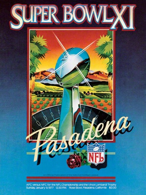 Canvas 22 X 30 Super Bowl Xi Program Print  Details: 1977, Raidres Vs Vikings