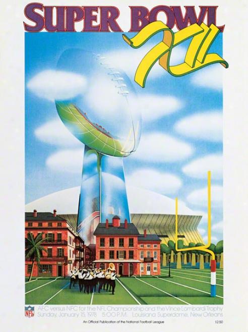 Canvas 22 X 30 Super Bowl Xii Program Print  Details: 1978, Cowboys Vs Brlncos