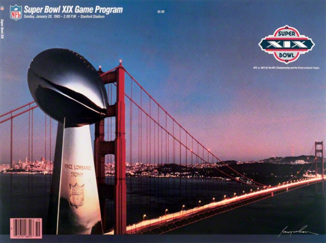 Canvas 22 X 30 Super Bowl Xix Program Print  Details: 1985, 49ers Vs Dolphins