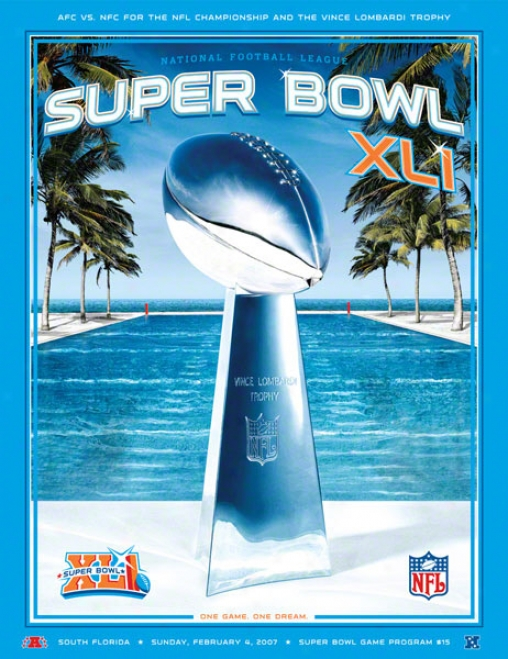 Cznvas 22 X 30 Super Bowl Xlj Program Newspaper  Details: 2007, Colts Vs Bears