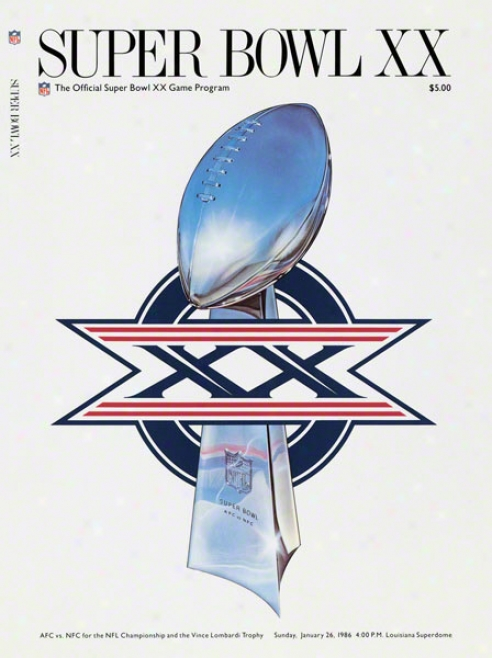 Canvas 22 X 30 Super Bowl Xx Program Print  Details: 1986, Bears Vs Patriots
