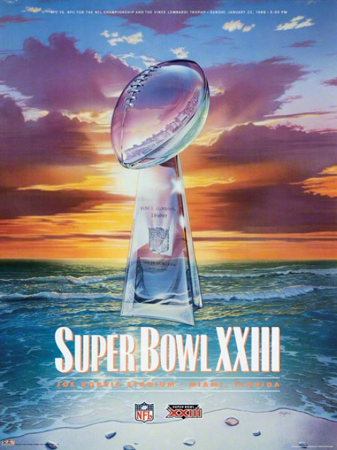 Canvas 22 X 30 Super Bowl Xxiii Program Print  Details: 1989, 49ers Vs Bengals