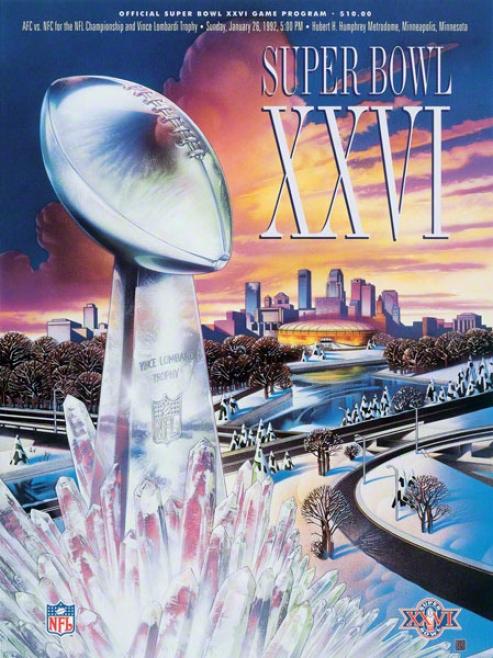 Canvas 22 X 30 Super Bowl Xxvi Program Print  eDtails: 1992, Redskins Vs Bills