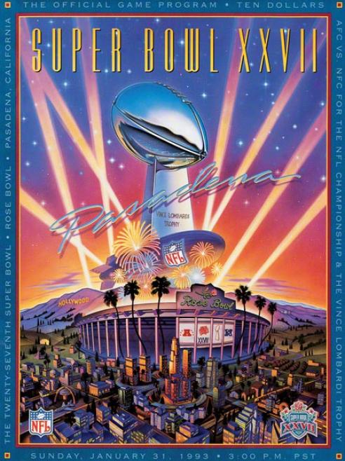 Canvas 22 X 30 Super Bowl Xxvii Proram Print  Particulars: 1993, Cowboys Vs Bills