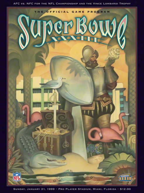 Canvas 22 X 30 Super Bowl Xxxiii Program Mark  Details: 1999, Broncos Vs Falcons
