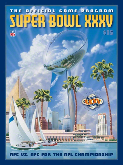 Canvas 22 X 30 Super Bowl Xxxv Program Priint  Details: 2001, Ravens Vs Giants