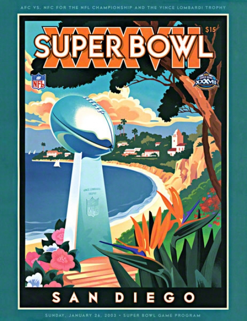 Canvas 22 X 30 Super Bowl Xxxvii Program Print  Details: 2003, Buccaneers Vs Raidesr