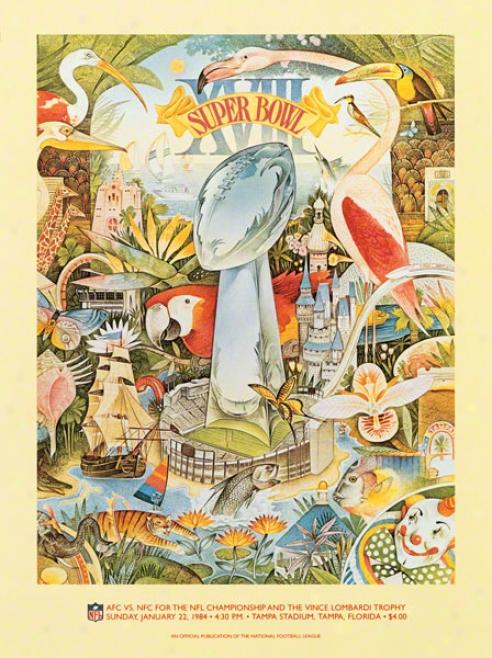 Canvas 36 X 48 Super Bowl Vxiii Program Print  Details: 1984, Raiders Vs Redskins
