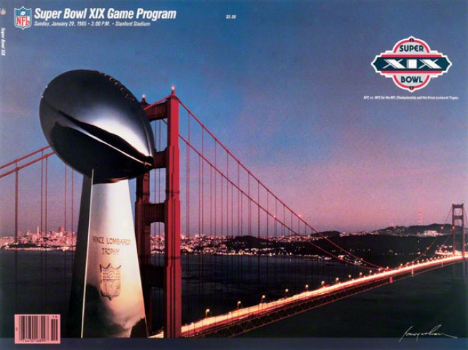 Canvas 36 X 48 Super Bowl Xix Program Print  Details: 1985, 49ers Vs Dolphins