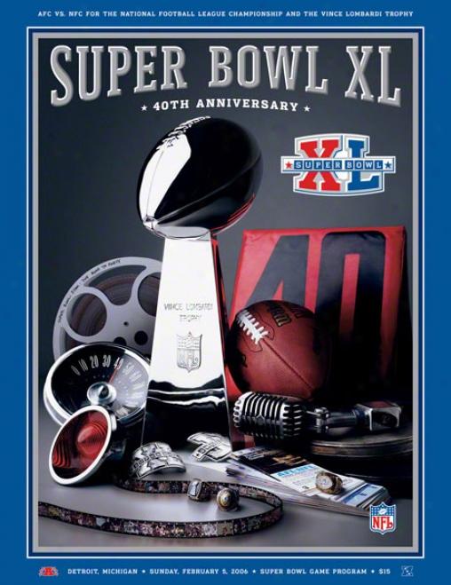 Canvas 36 X 48 Super Bowl Xl Program Print  Details:2 006, Steelers Vs Seahawks