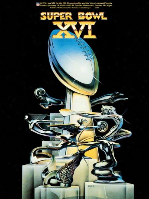 Canvas 36 X 84 Syper Bowl Xvi Program Print  Details: 1982, 49ers Vs Bengals