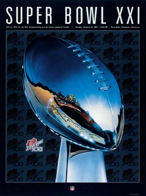 Canvas 36 X 48 Super Bowl Xxi Program Print  Details: 1987, Giants Vs Broncos