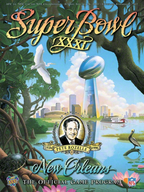 Canvas 36 X 48 Super Bowl Xxxi Program Print  Details: 1997, Packers Vs Patriots