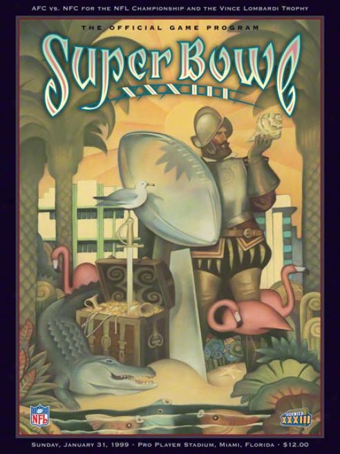 Canvas 36 X 48 Super Bowl Xxxiii Program Impression  Details: 1999, Broncos Vs Falcons