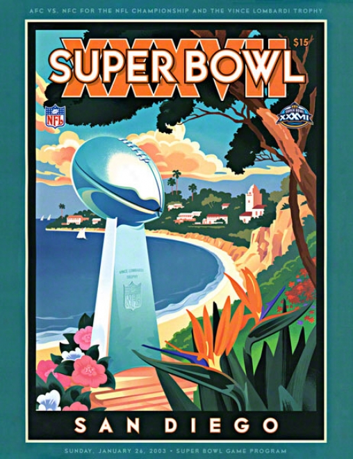 Canvas 36 X 48 Super Bowl Xxxvii Program Calico  Details: 2003, Buccaneers Vs Raiders