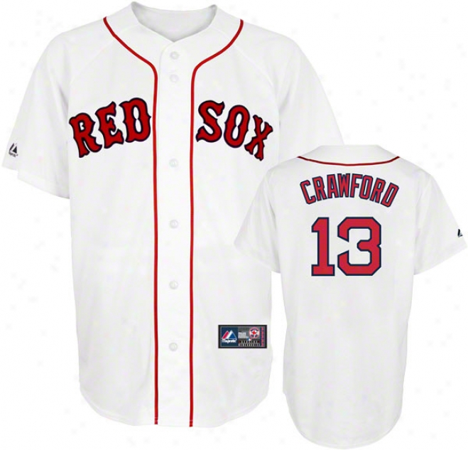 Carl Crawford Jersey: Adult Majestic Home White Replica #13 Boston Red Sox Jersey