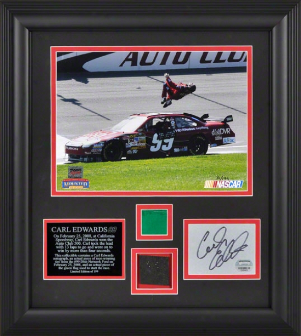 Carl Edwards - 2008 Auto Club 500 - Autographed Framed Collectibld With Race Winning Tire Piece