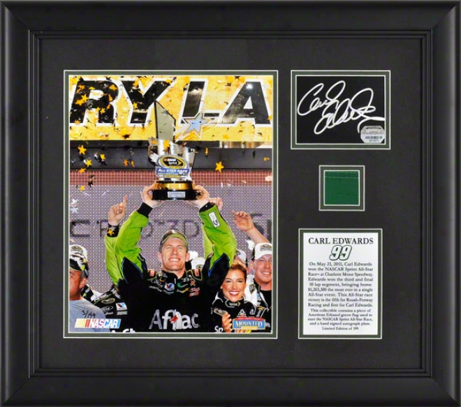 Carl Exwards 2011 Sprint All Star Winner Framed Photograph  Details: Autographed Car And Flag, Limitted Edition Of 199