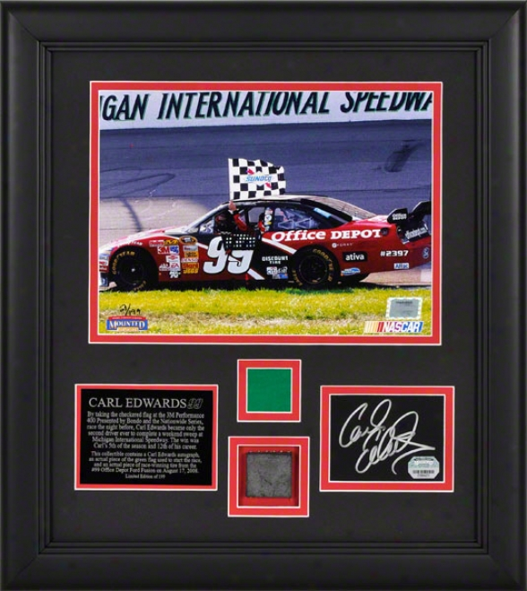 Carl Edwards - 3m Performance 400 Winner - Framed Autographed Cad With 8x10 Photograph And Race Used Tire And Flag Pieces
