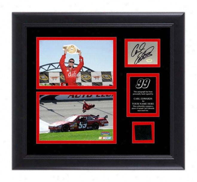Carl Edwards Framed 5x7 Photographs With Autographed Card, Race Tire And Personalized Nameplate