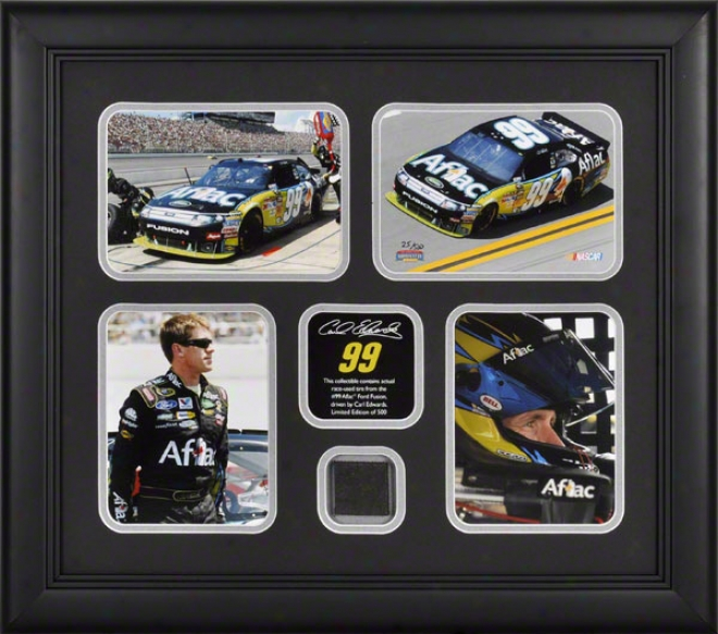 Carl Edwards Framed Photographs  Details: 4 � 4x6 Photographs, 2010 Race Used Fatigue, Limited Issue  Of 500