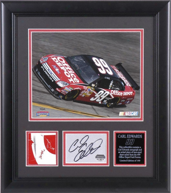 Carl Edwards - Laserchrome - Framed 8x10 Photograph With Autograhped Card, Race Used Metal Piece And Plate