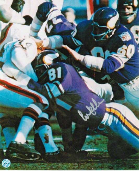 Carl Eller Minnesota Vikings Autographed 8x10 Photo Tackling Leroy Kelly