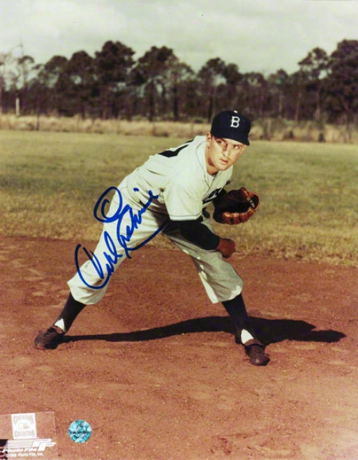 Carl Erskibe Brooklyn Dodgers Autographed 8x10 Photo Follow Through