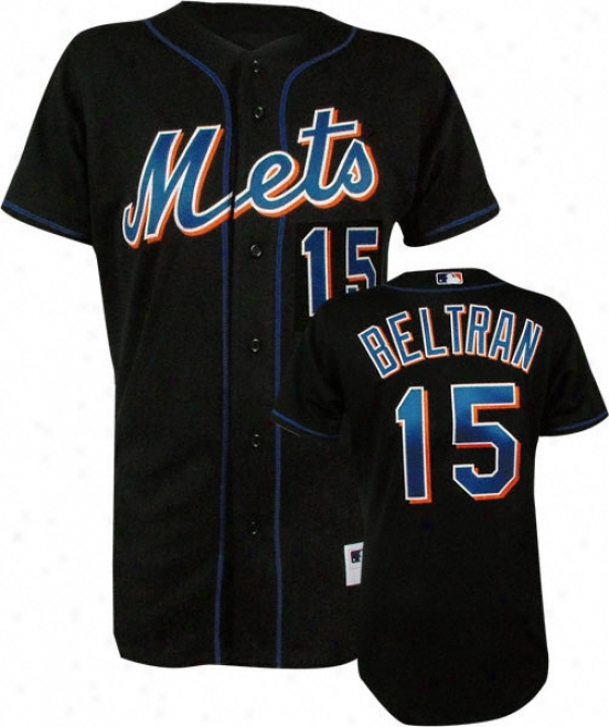 Carlos Beltran Black Majestic Mlb Alternate Authentic New York Mets Jersey