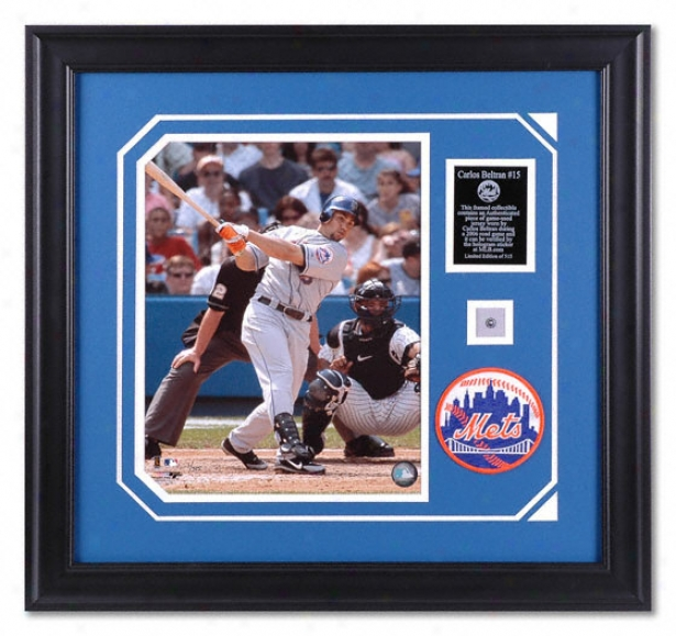 Carlos Beltran Recent York Mets Framed 11x14 Photograph With Game Used Jersey Piece