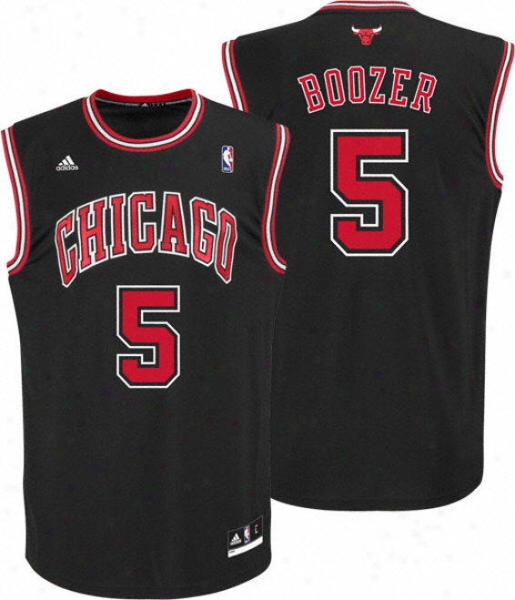Carlos Boozer Jersey: Adidas Revolution 30 Black Replica #5 Chicago Bulls Jersey