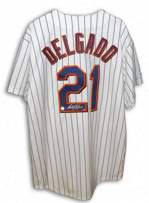 Carlos Delgado New York Mets Autographed Majestic White Pinstripe Jersey