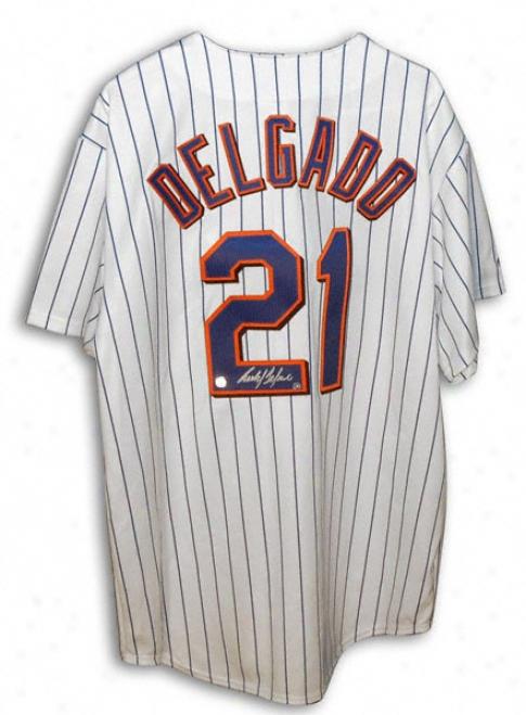 Carlos Delgado New York Mets Autographed Majestic White Pinstripe Jersey