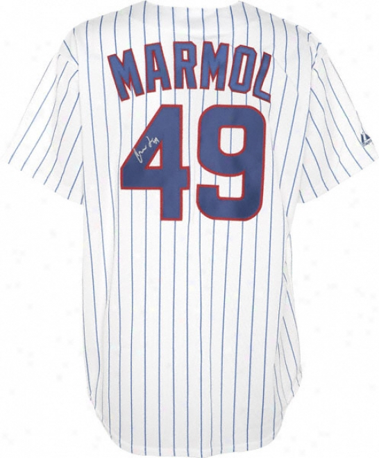 Carlos Marmol Chicago Cubs Autographed White Pinstripe Majestic Replica Jerssey
