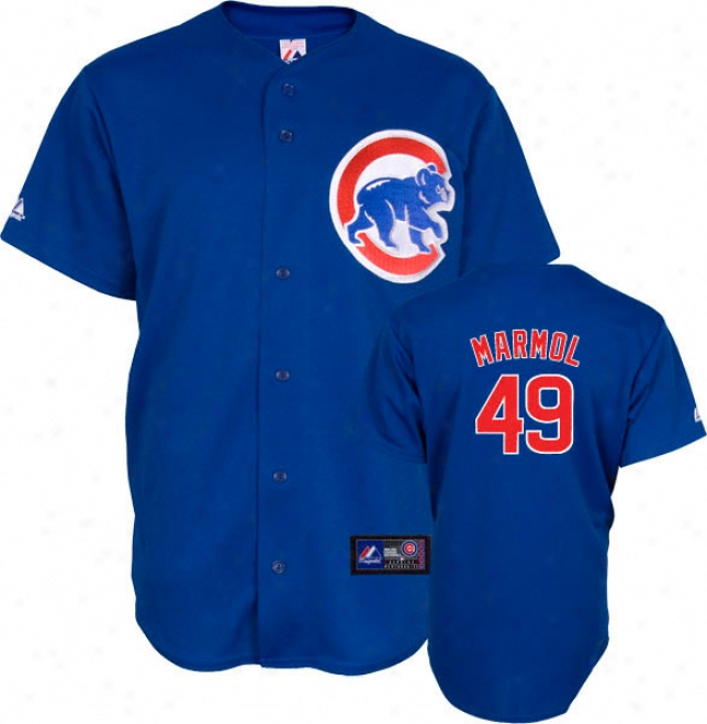 Carlos Marmol Jersey: Adult Majestic Alternate Blue Autograph copy #49 Chicago Cubs Jersey