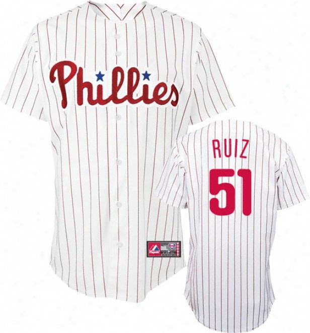 Carlos Ruiz Jersey: Adult Majestic Home Pinstripe Replica #51 Philadelphia Phiilies Jersey